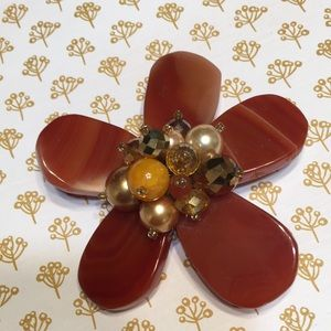Jewelry - Handmade rust colored stones w gold accent brooch